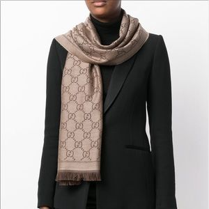 Authentic Gucci GG Jacquard Wool Scarf Brown